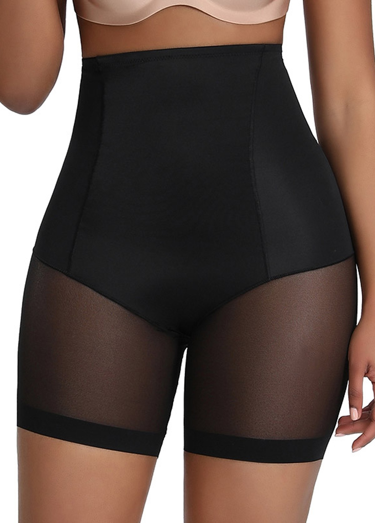 Solid Black High Waisted Panties