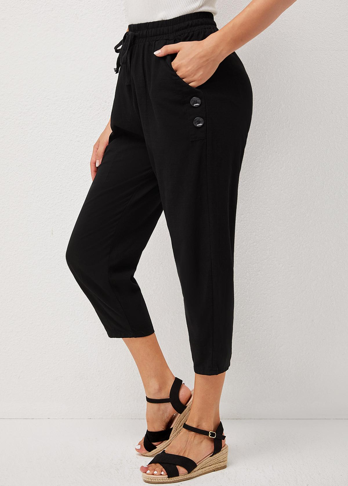 Pocket Solid Decorative Button Tie Front Pants