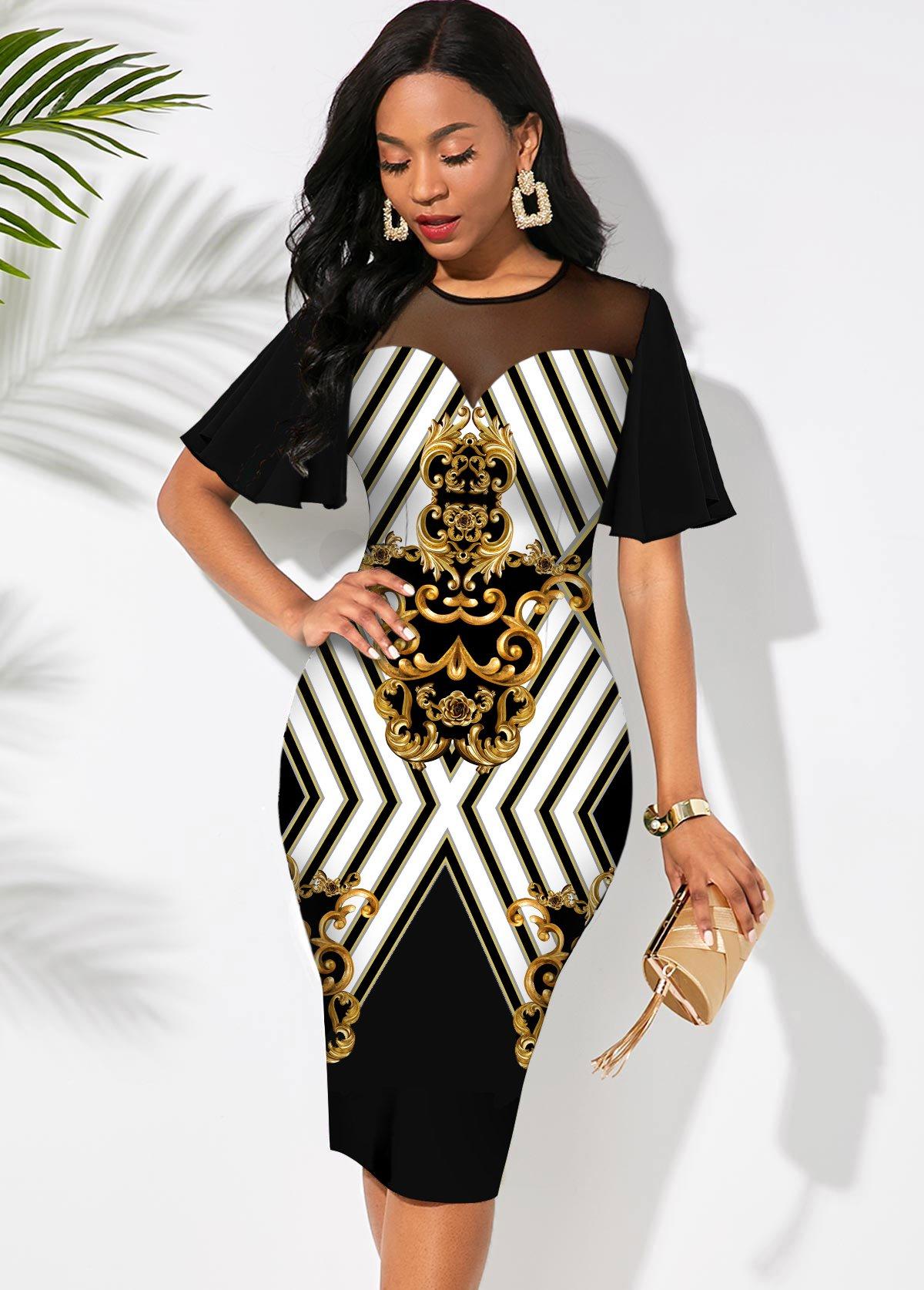 ROTITA Mesh Stitching Baroque Print Short Sleeve Dress