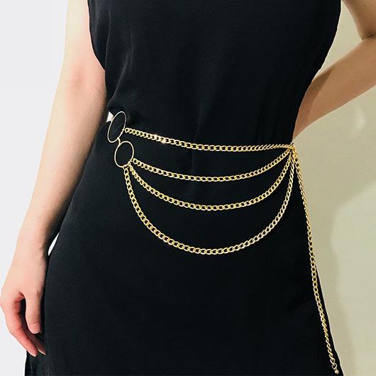 Metal Detail Gold Layered Design Belt