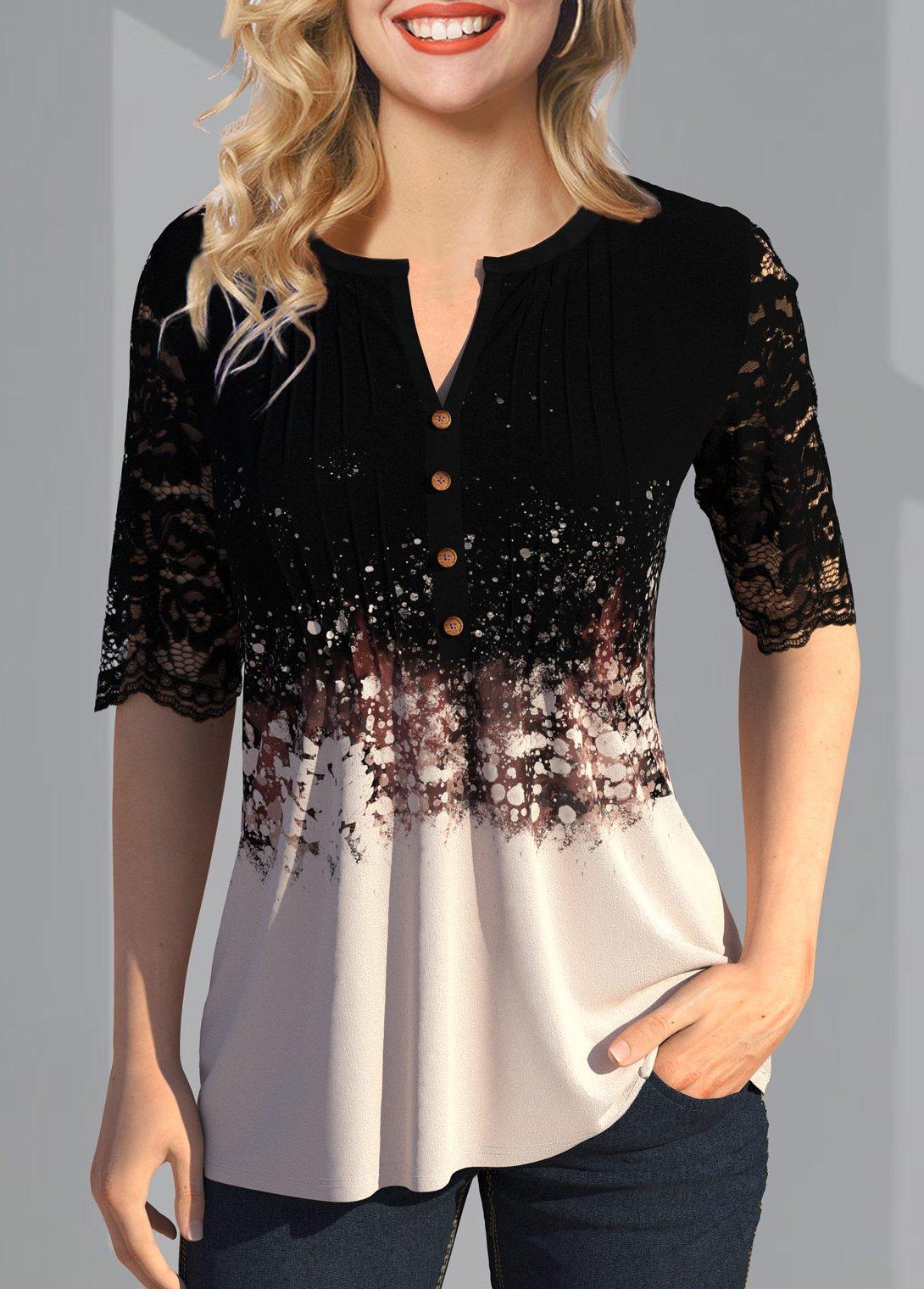 ROTITA Lace Patchwork Button Detail Split Neck T Shirt