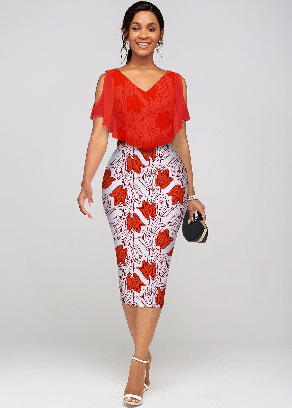 ROTITA Cold Shoulder Floral Print V Neck Dress