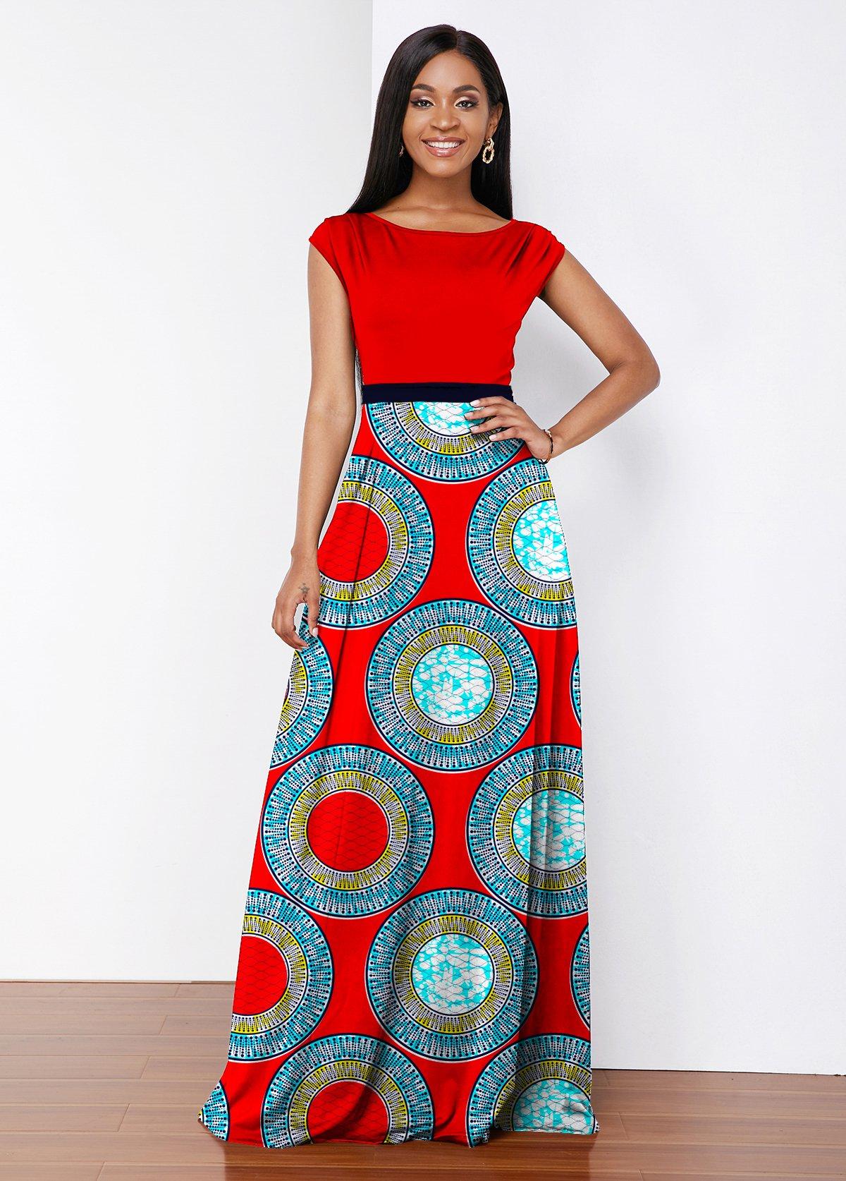 ROTITA Tribal Print Round Neck Maxi Dress