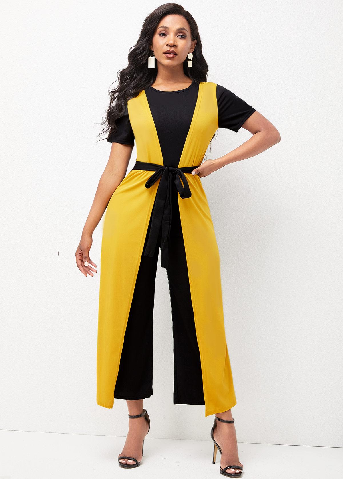 Tie Front Color Block Short Sleeve Jumpsuit