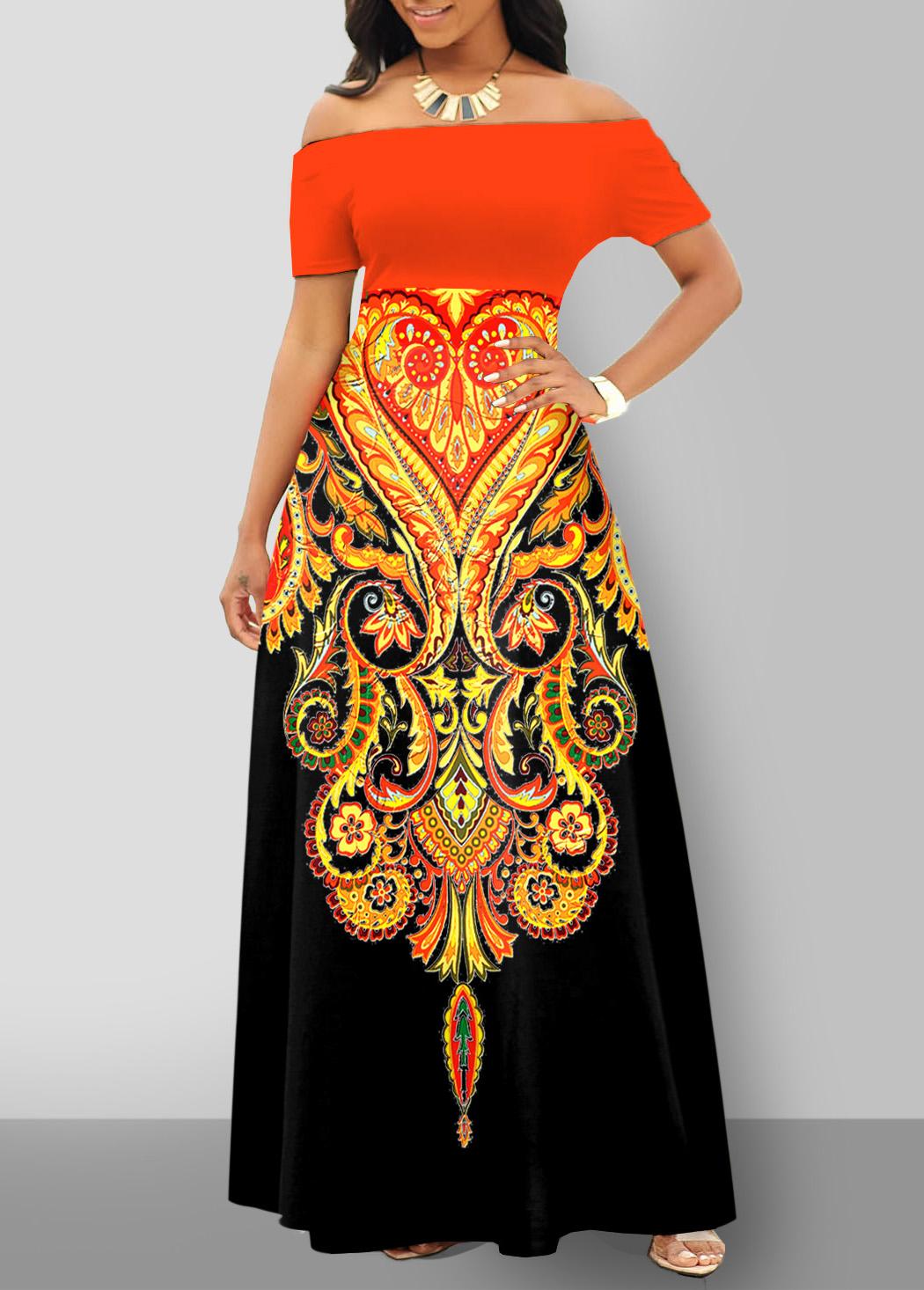 ROTITA Off Shoulder Tribal Print Short Sleeve Dress