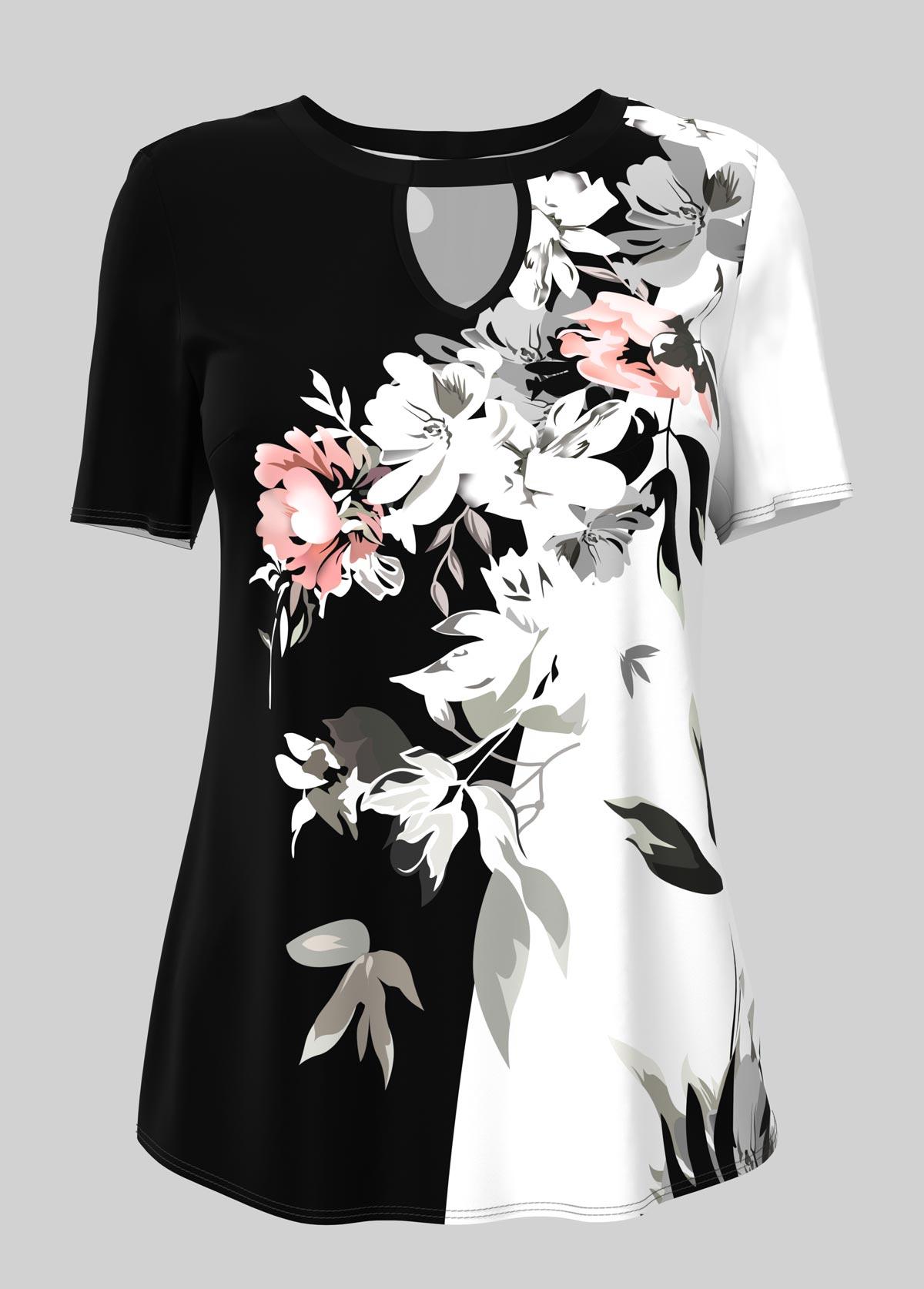 ROTITA Cutout Floral Print Short Sleeve T Shirt