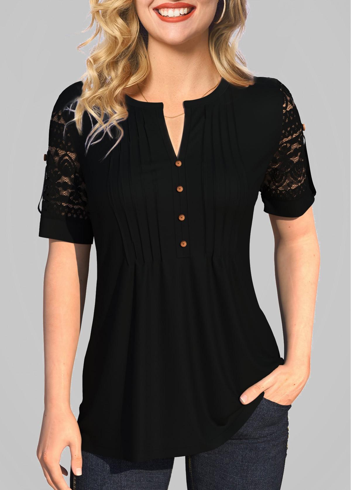 ROTITA Lace Patchwork Split Neck Solid T Shirt