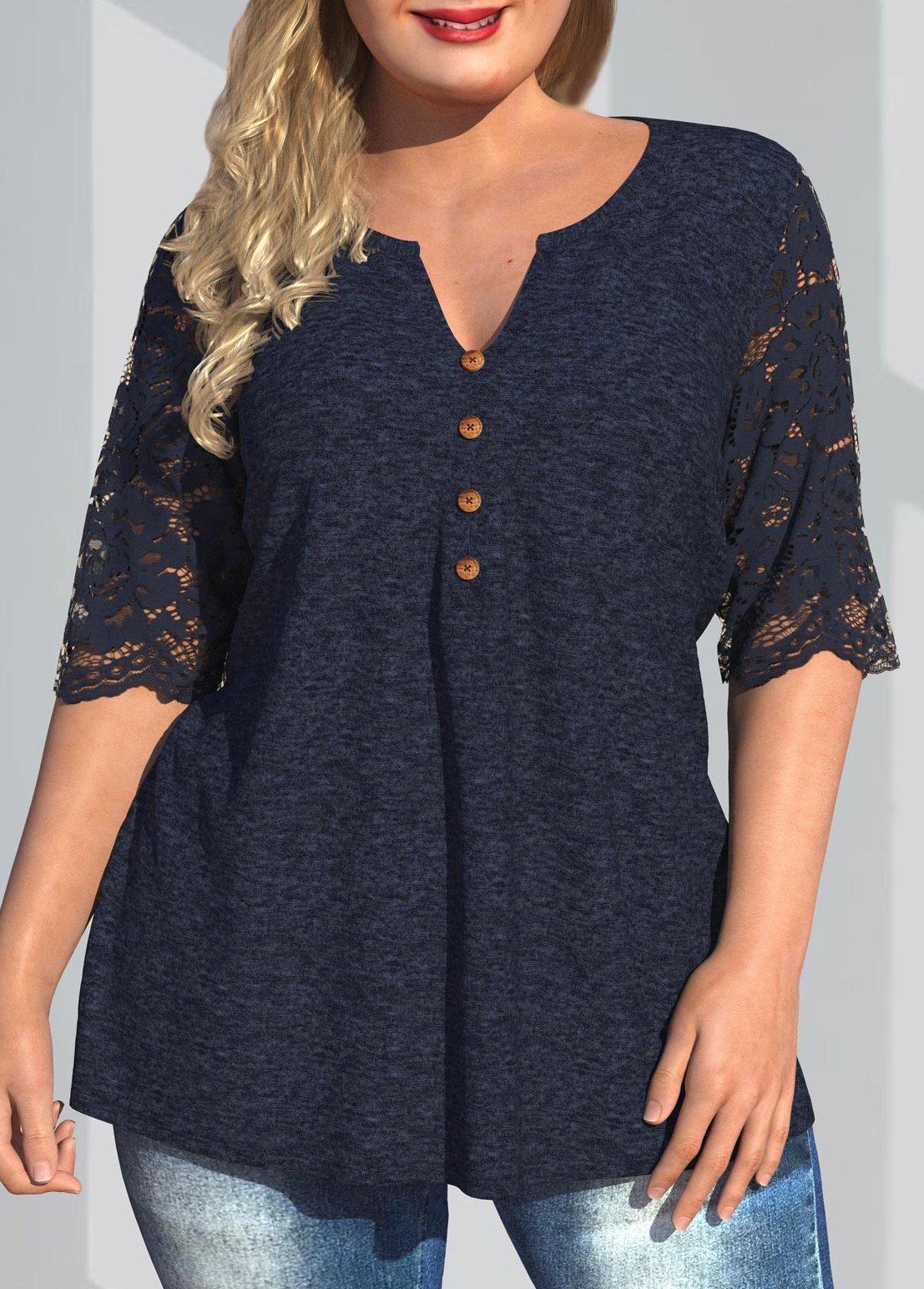 ROTITA Plus Size Lace Patchwork Split Neck T Shirt