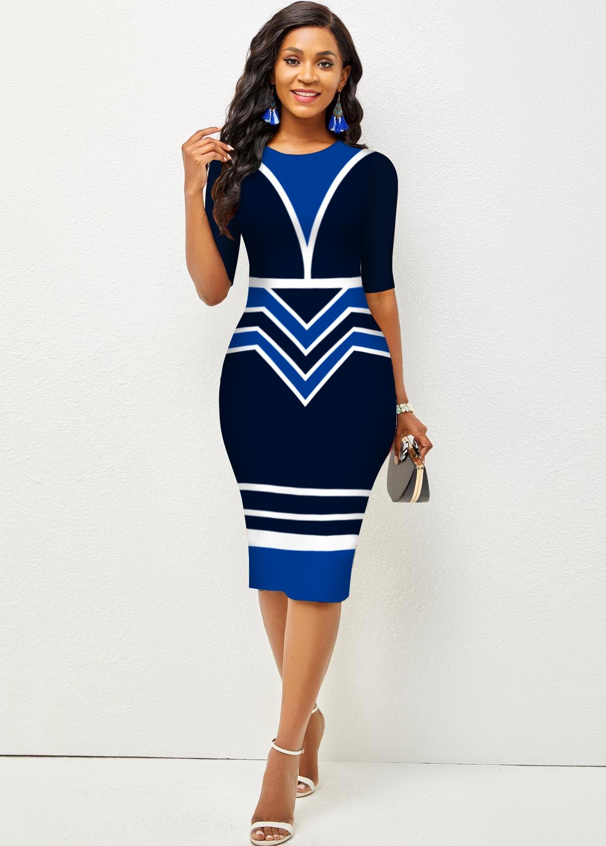 ROTITA Round Neck Stripe and Geometric Print Dress