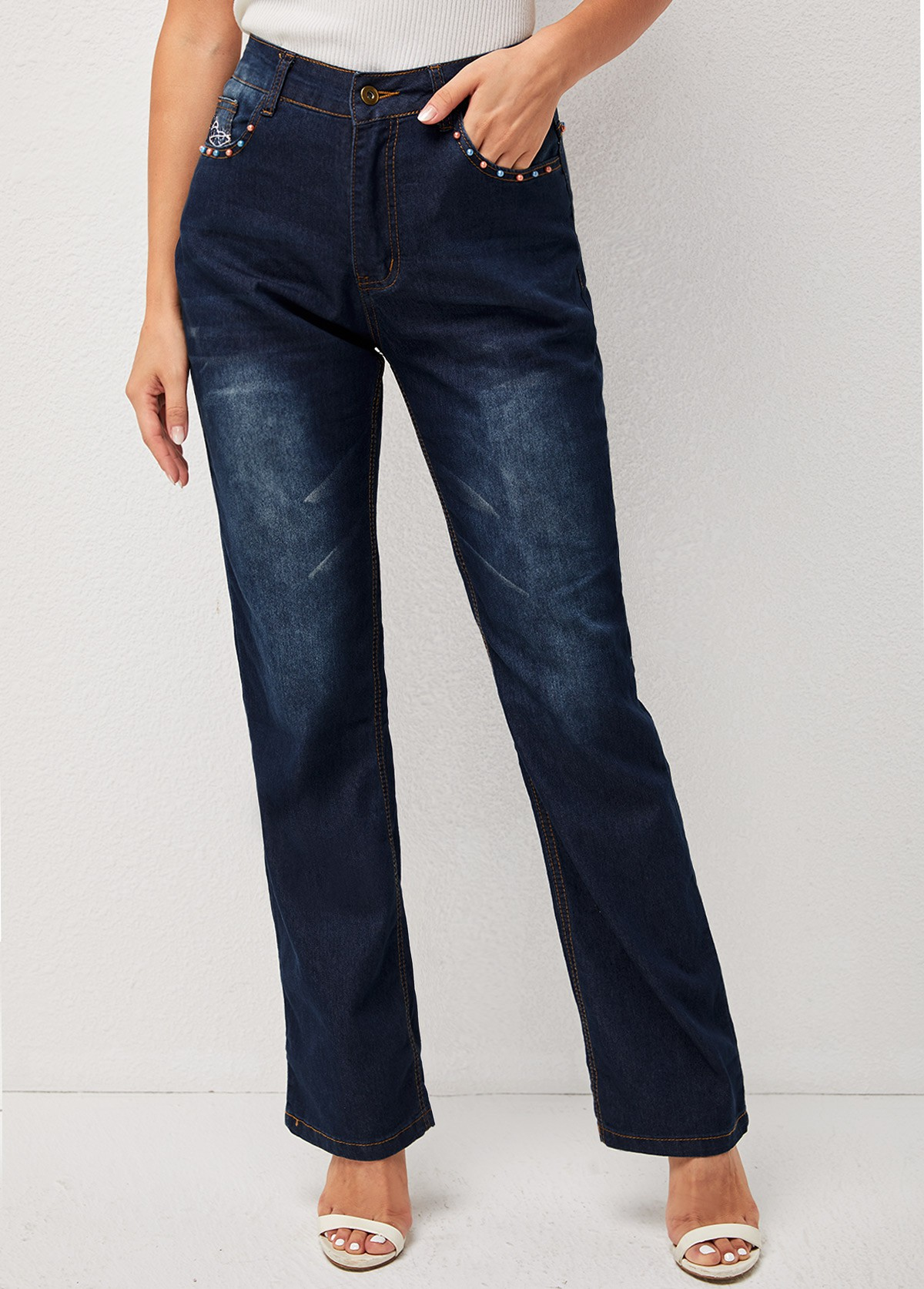 Double Side Pocket Beads Solid Jeans