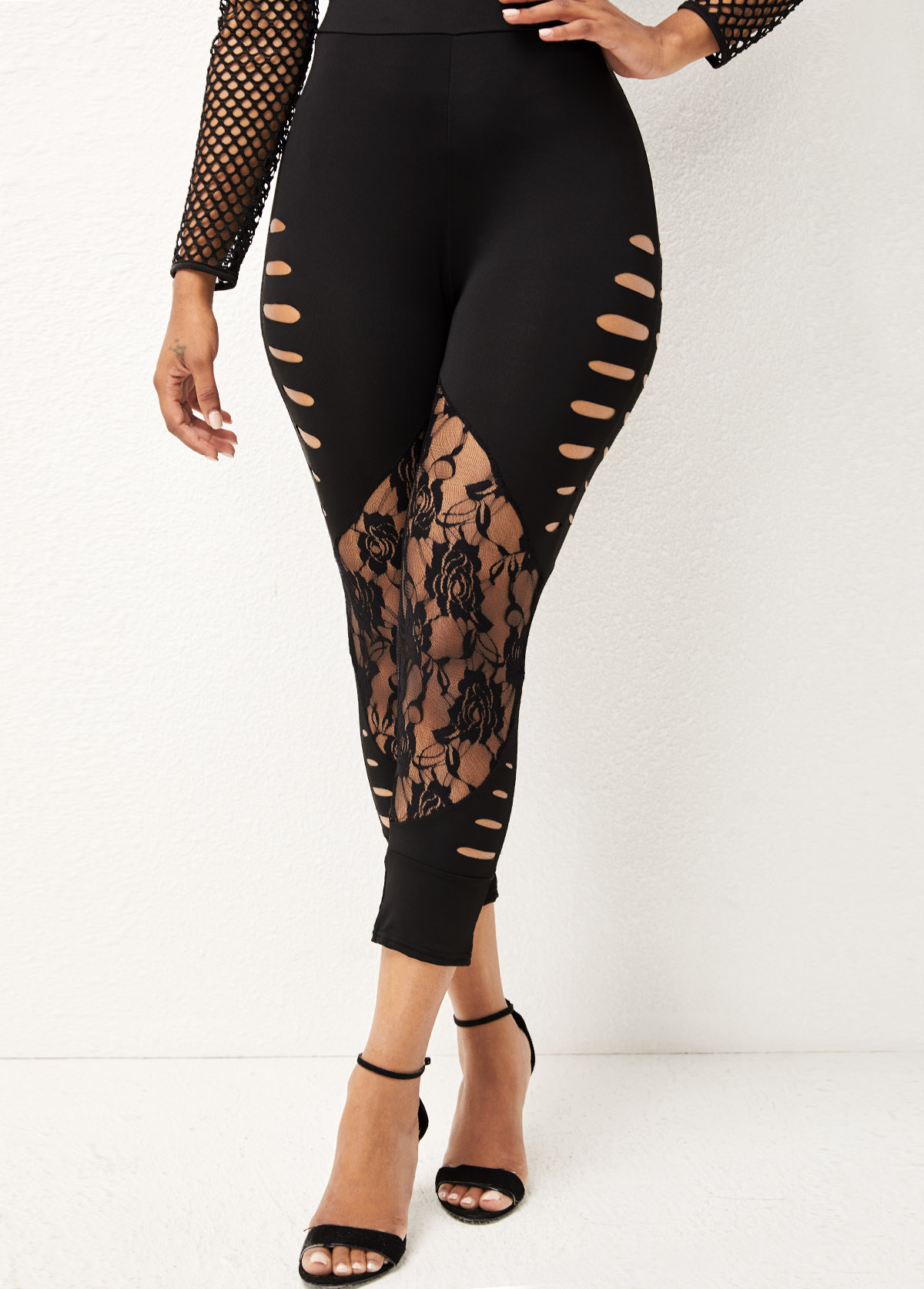 Lace Stitching High Waisted Solid Skinny Pants