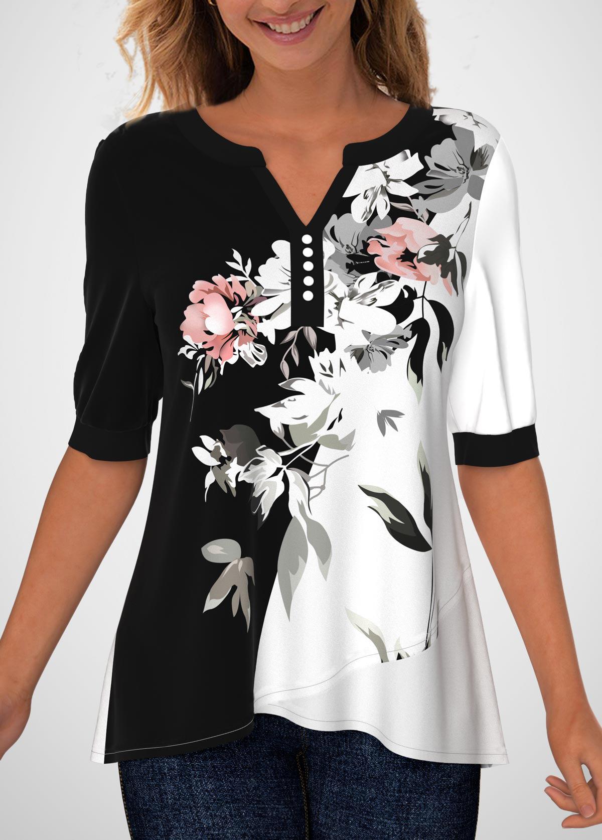 ROTITA Split Neck Floral Print Decorative Button Blouse