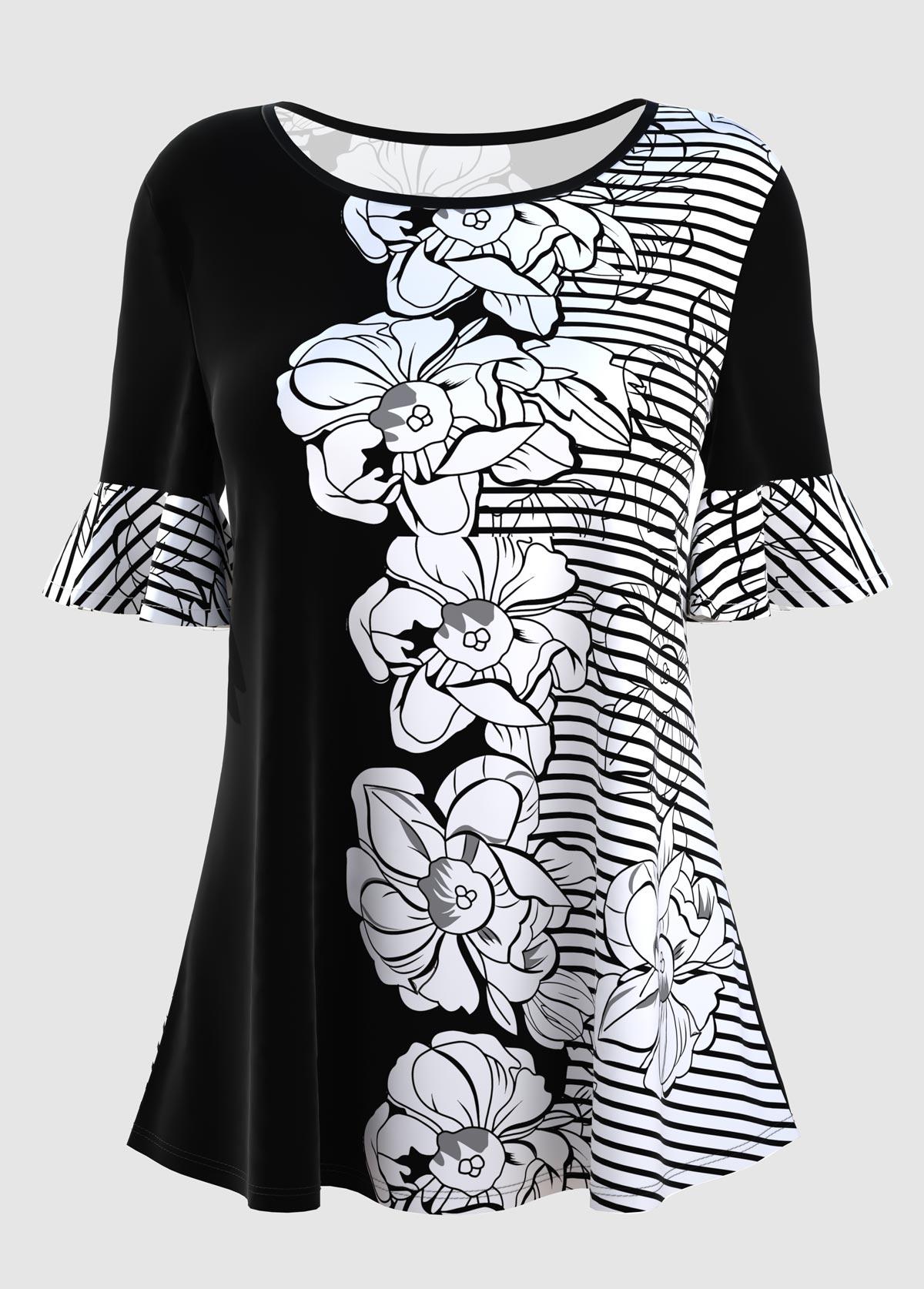 ROTITA Round Neck Stripe and Floral Print Short Sleeve T Shirt