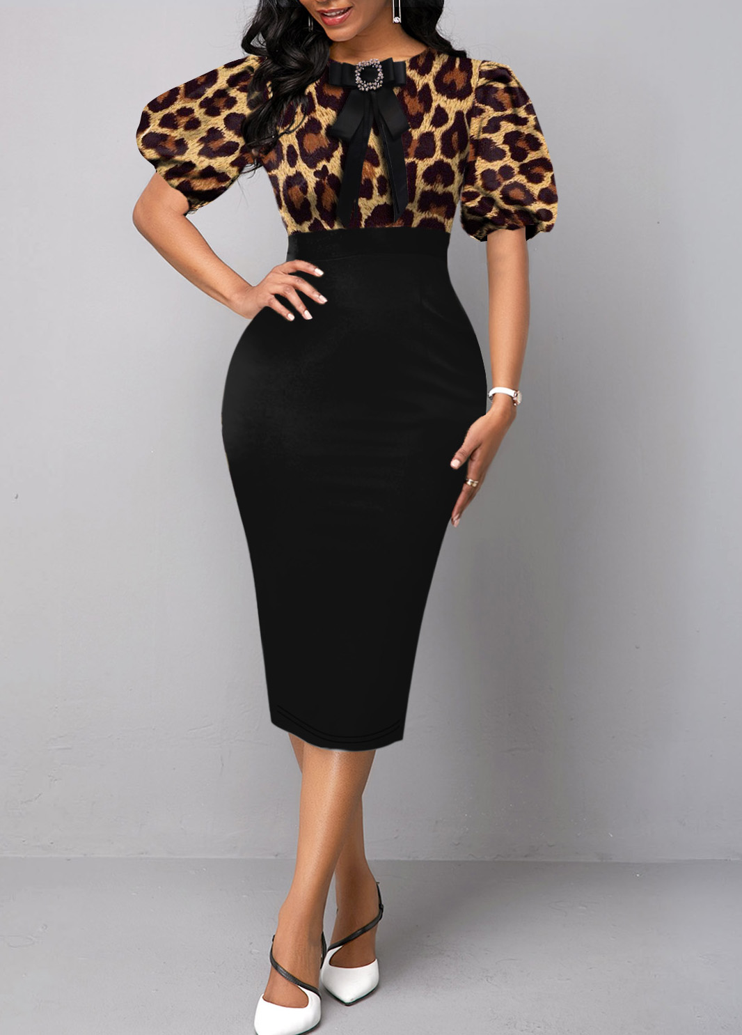 ROTITA Leopard Puff Sleeve Bowknot Bodycon Dress