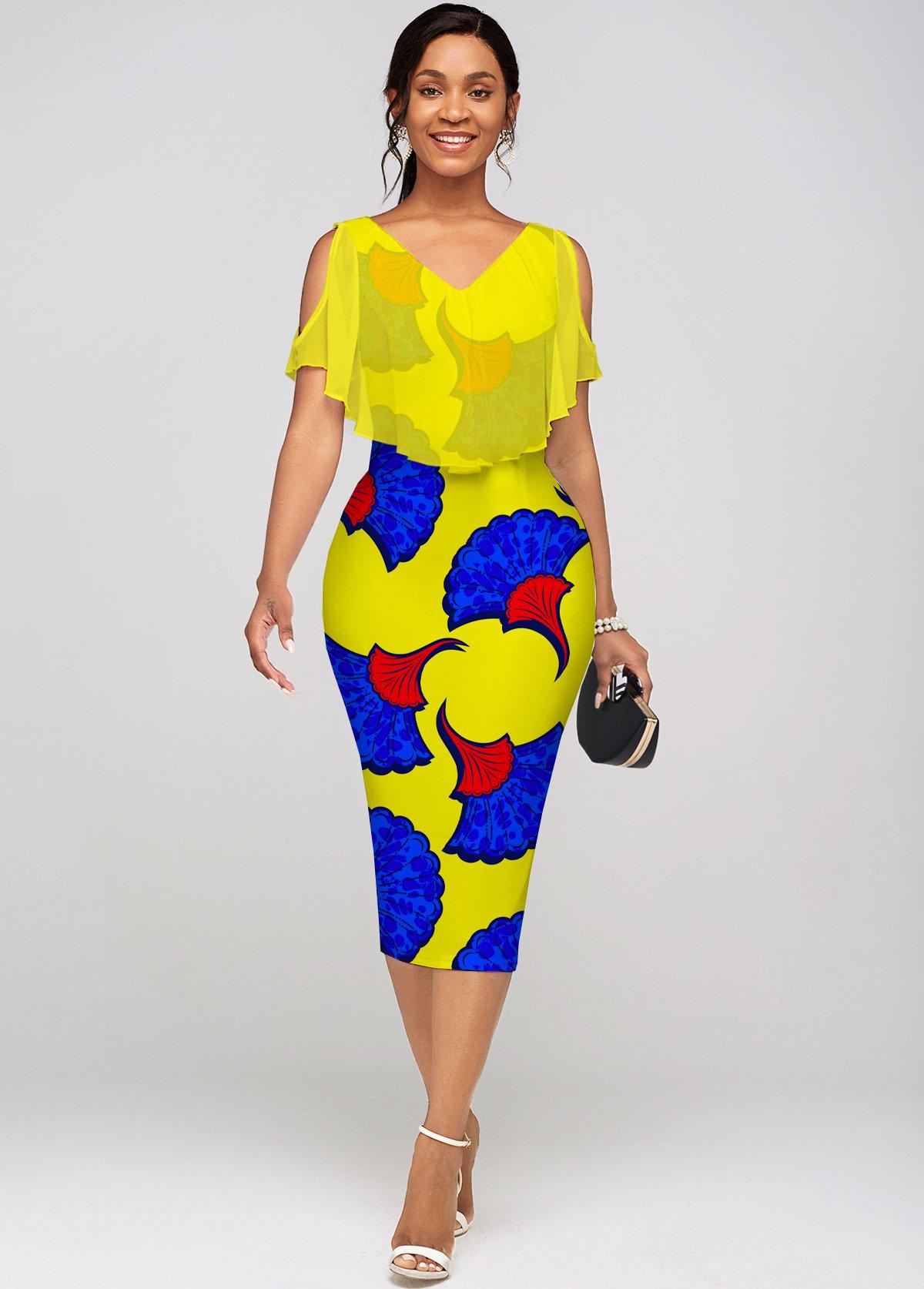 ROTITA Printed Chiffon Cape V Neck Dress
