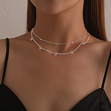Metal Detail Rhinestone Silver Layered Necklace