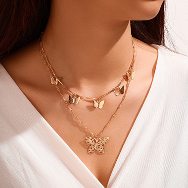 Gold Butterfly Design Metal Detail Necklace