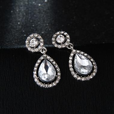 Water Drop Design Silver Rhinestone Detail Earrings