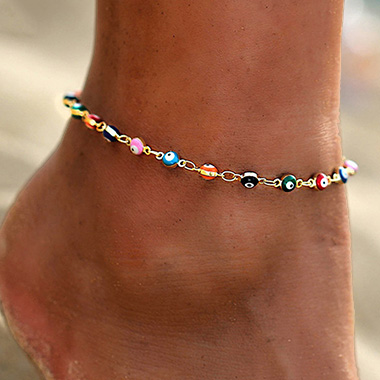 Metal Detail Multi Color Eye Design Anklet