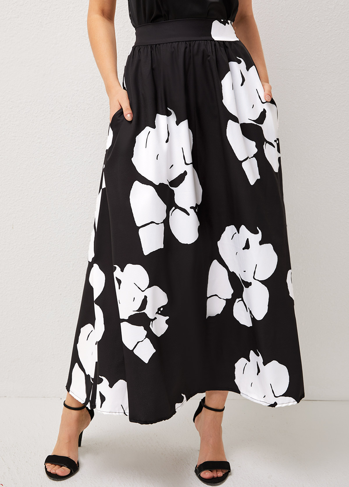 Double Side Pocket Floral Print High Waisted Skirt