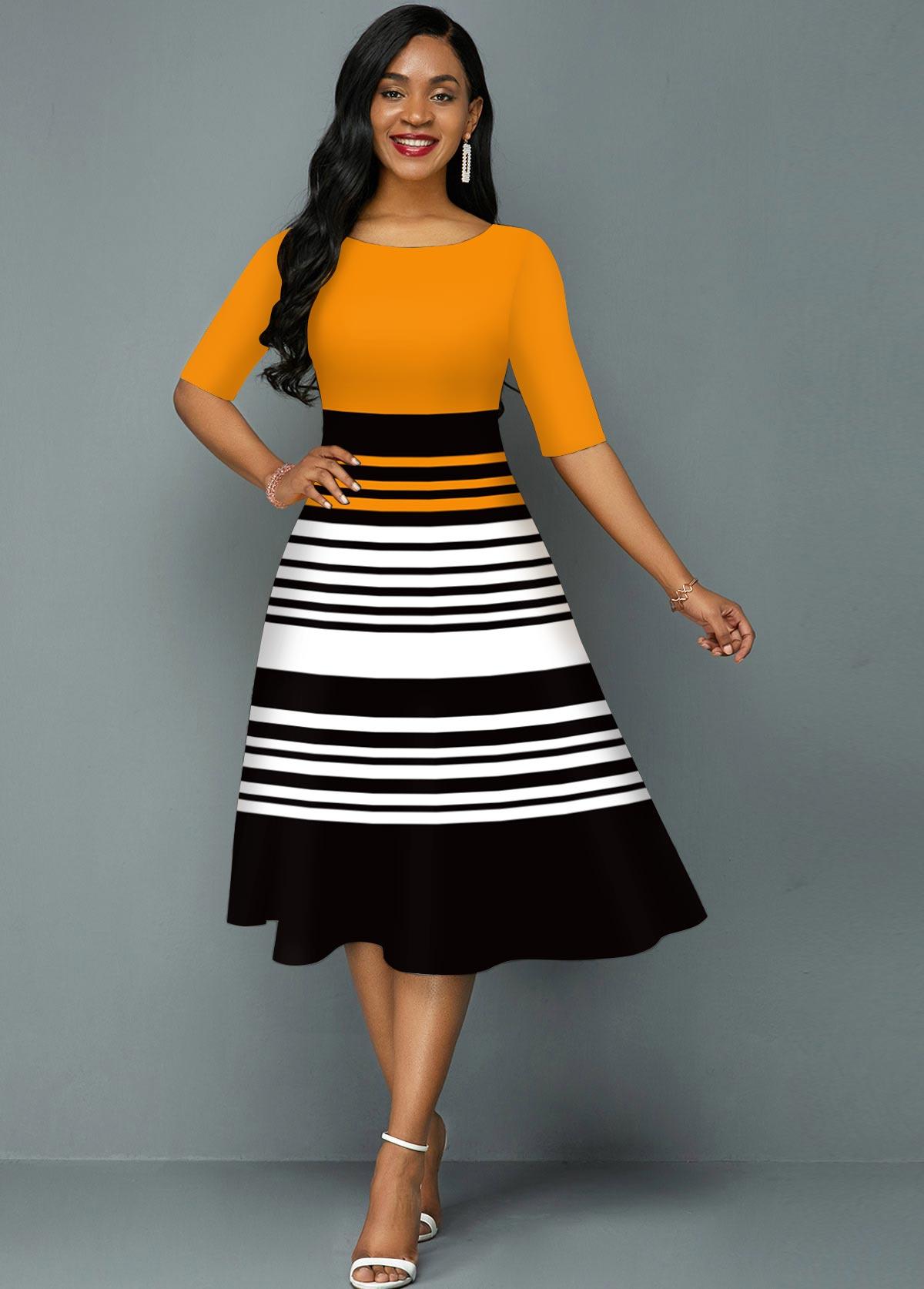 ROTITA Striped Contrast Round Neck A Line Dress
