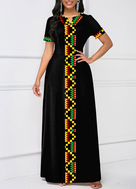 ROTITA Tribal Print Keyhole Neck Short Sleeve Dress