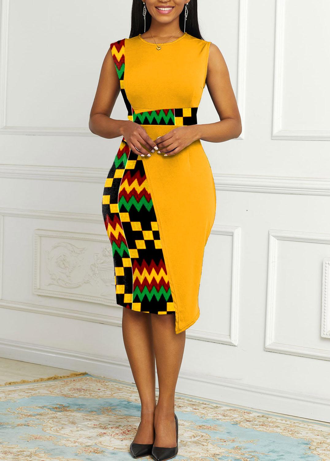 ROTITA Tribal Print Contrast Round Neck Dress