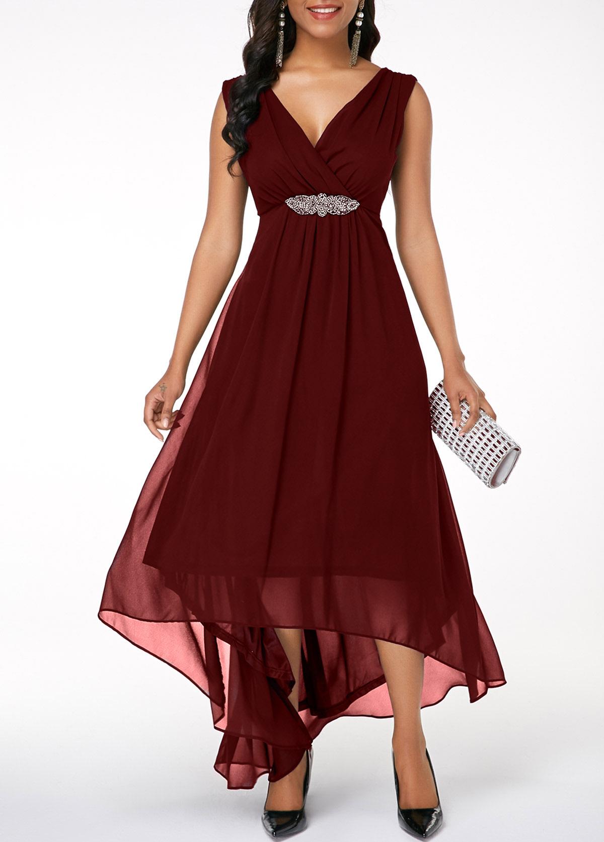 ROTITA Sleeveless V Neck Asymmetric Hem Dress