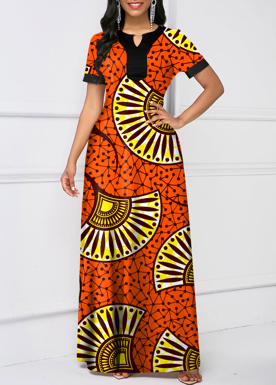 ROTITA Keyhole Neckline Tribal Print Short Sleeve Dress