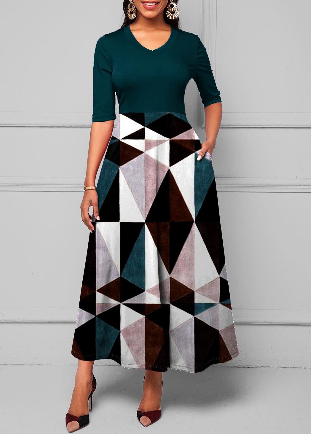 ROTITA V Neck Pocket Geometric Print Dress