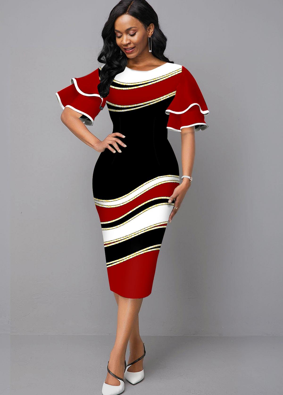 ROTITA Round Neck Ruffle Sleeve Geometric Print Dress