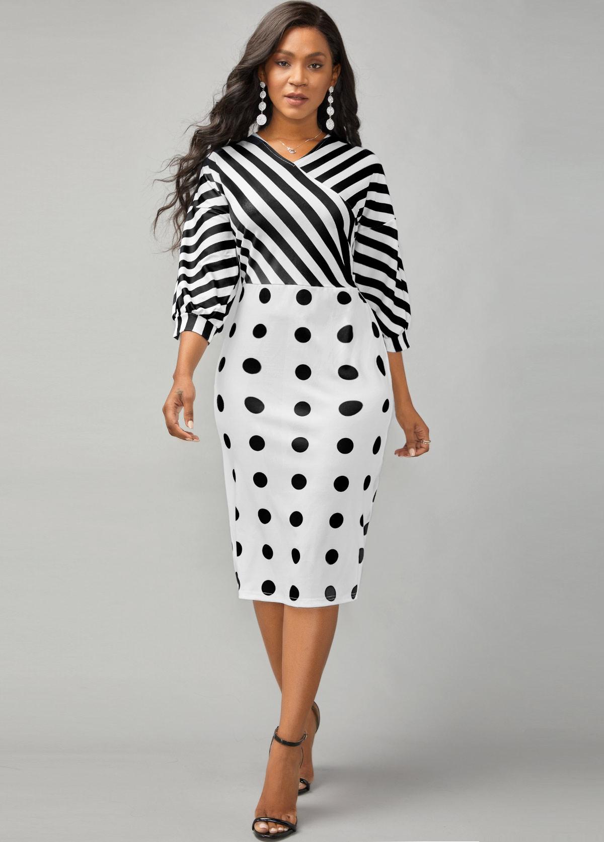 Lantern Sleeve Stripe and Polka Dot Print Dress