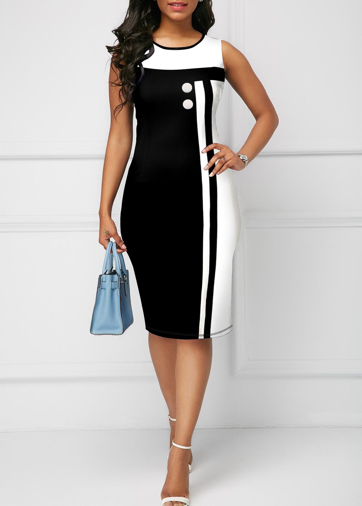 ROTITA Sleeveless Round Neck Contrast Bodycon Dress