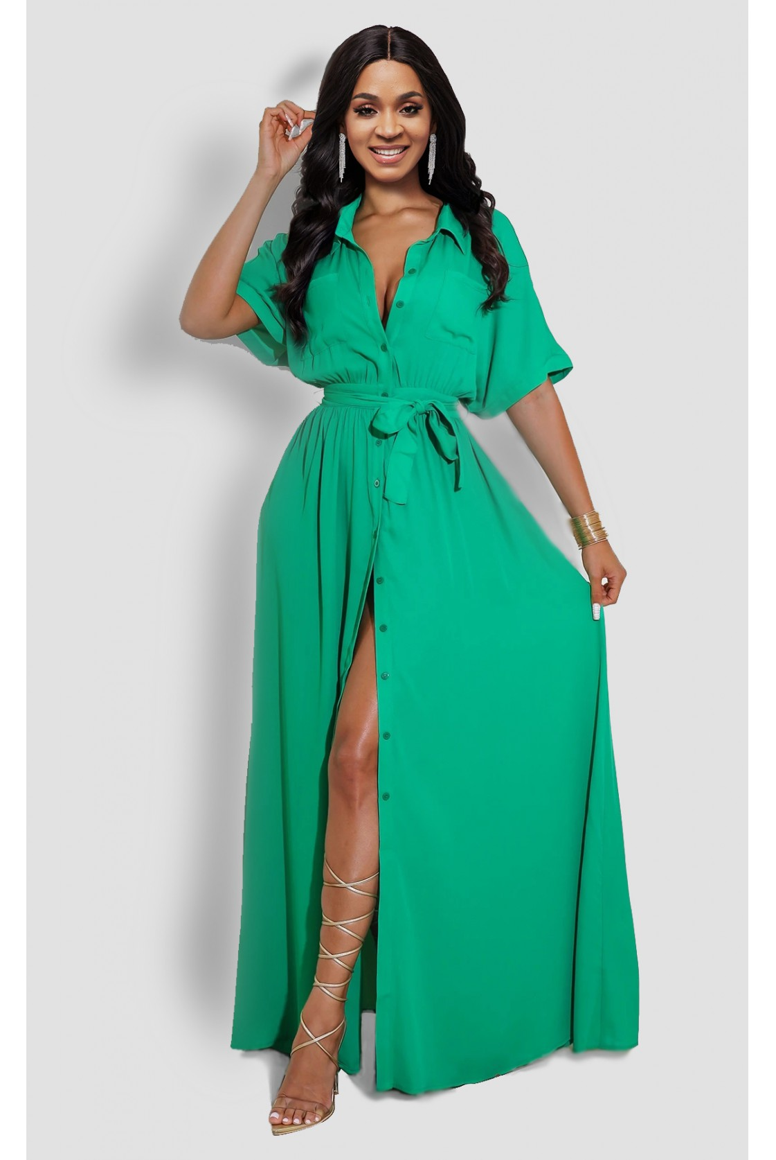 ROTITA Solid Belted Button Up Turndown Collar Dress