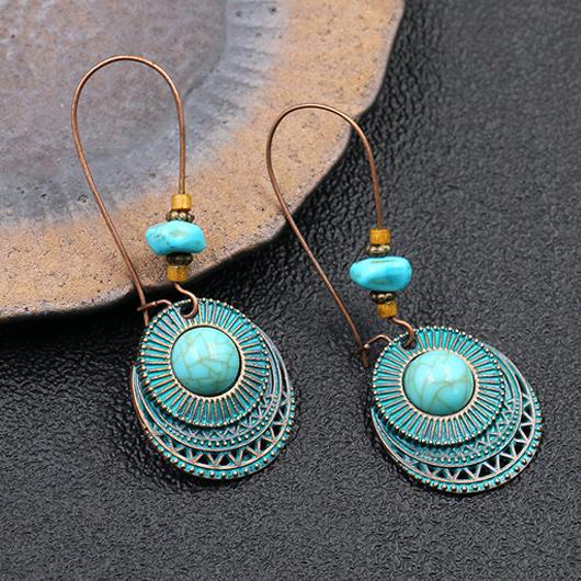Retro Turquoise Metal Detail Earring Set