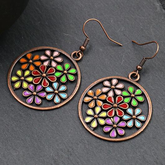 Floral Detail Circle Design Metal Earring Set