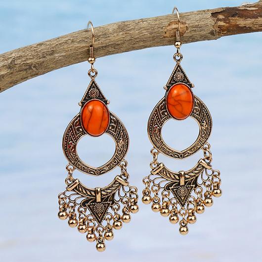 Tassel Detail Tribal Design Metal Earring Set