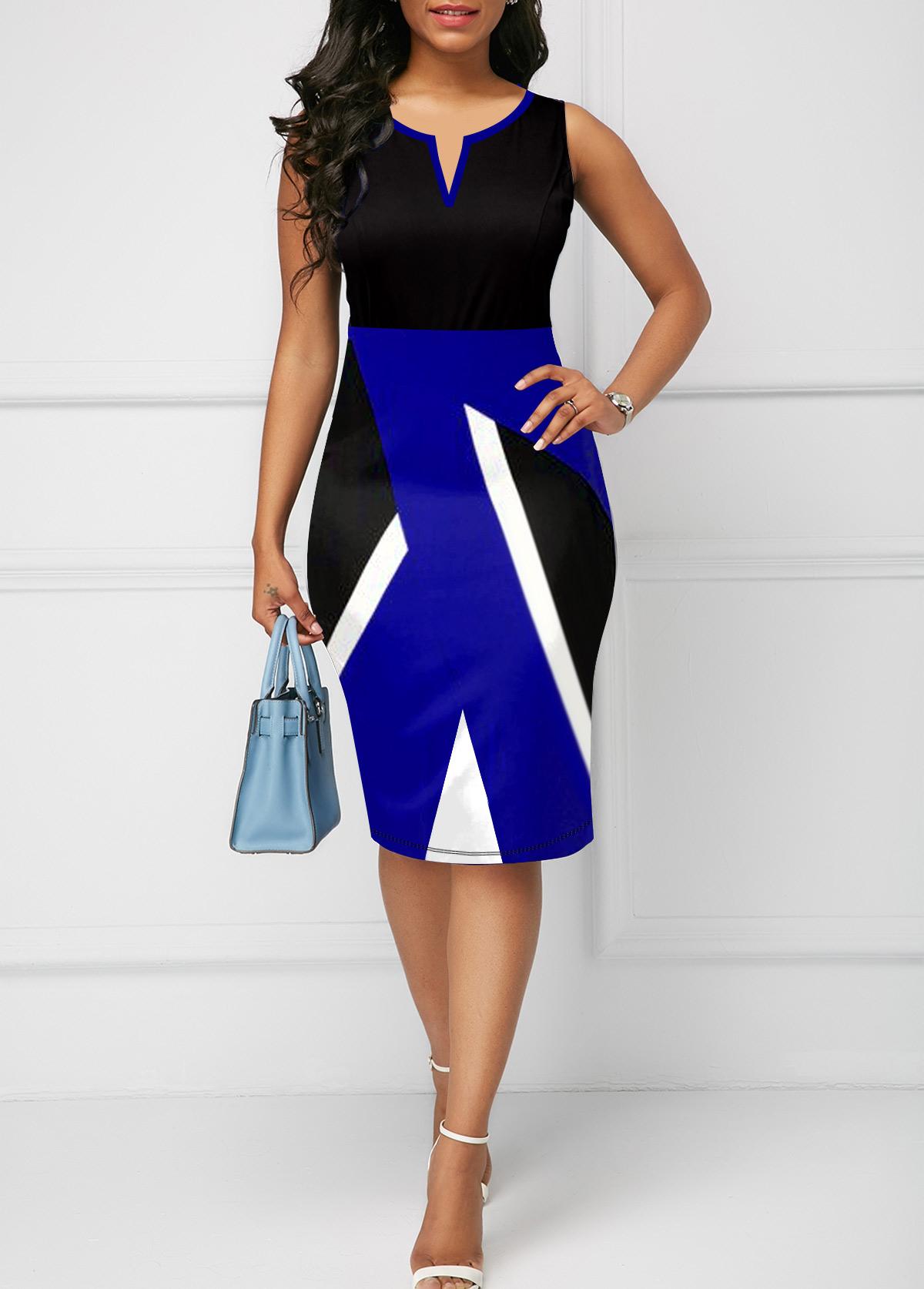 ROTITA Geometric Print Split Neck Sleeveless Dress
