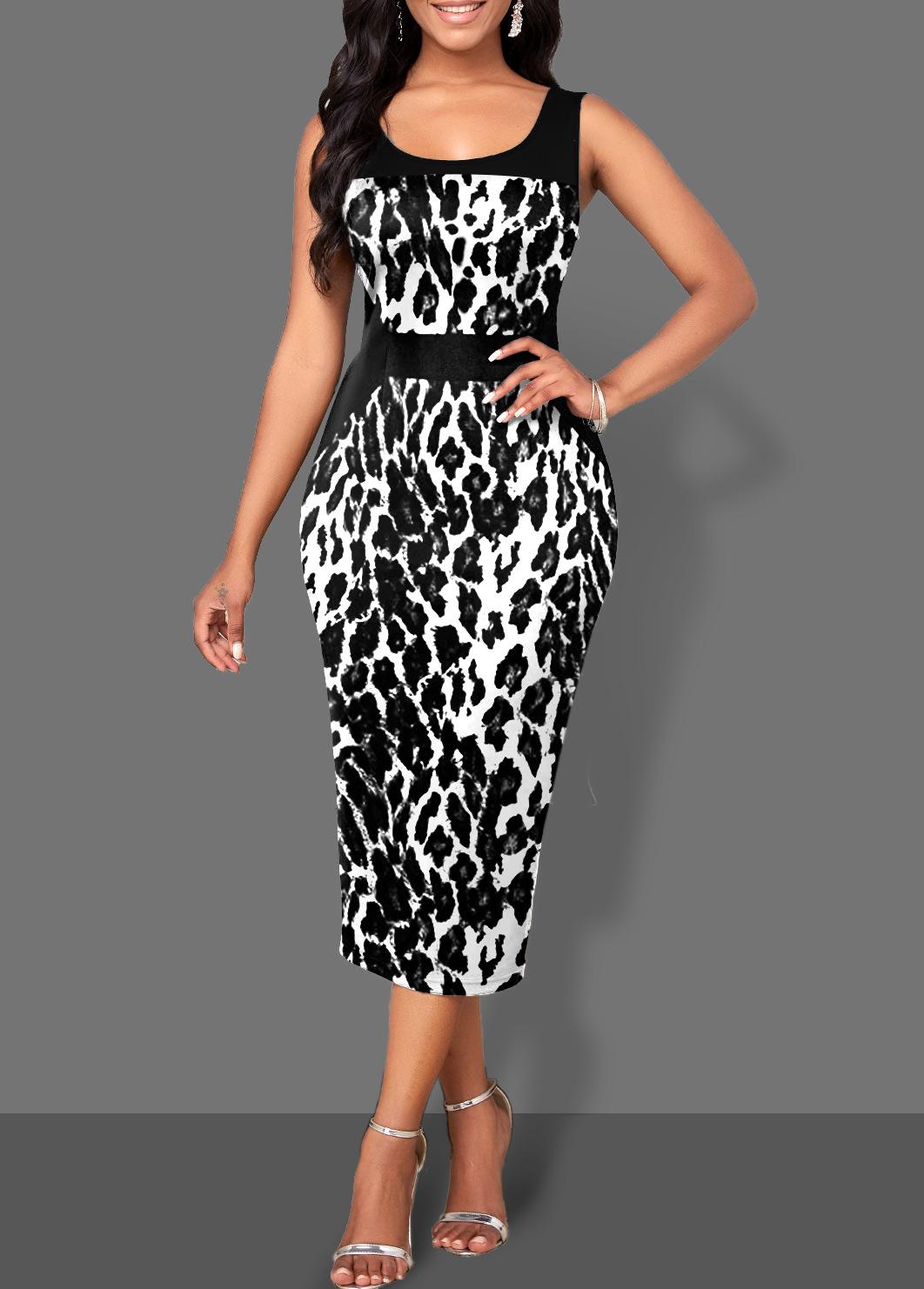 ROTITA Wide Strap Leopard Bodycon Monochrome Dress