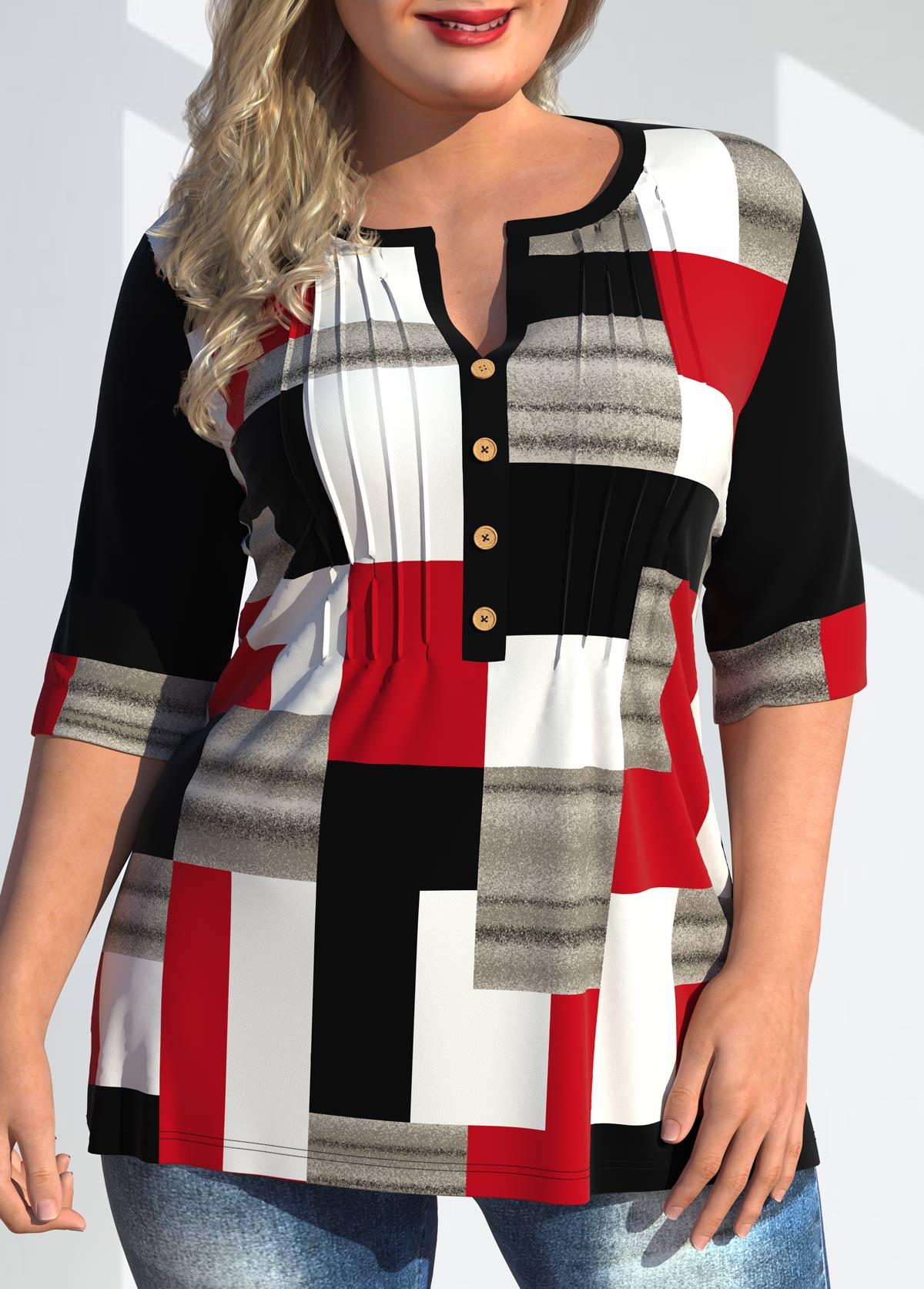 ROTITA Plus Size Geometric Print Split Neck T Shirt