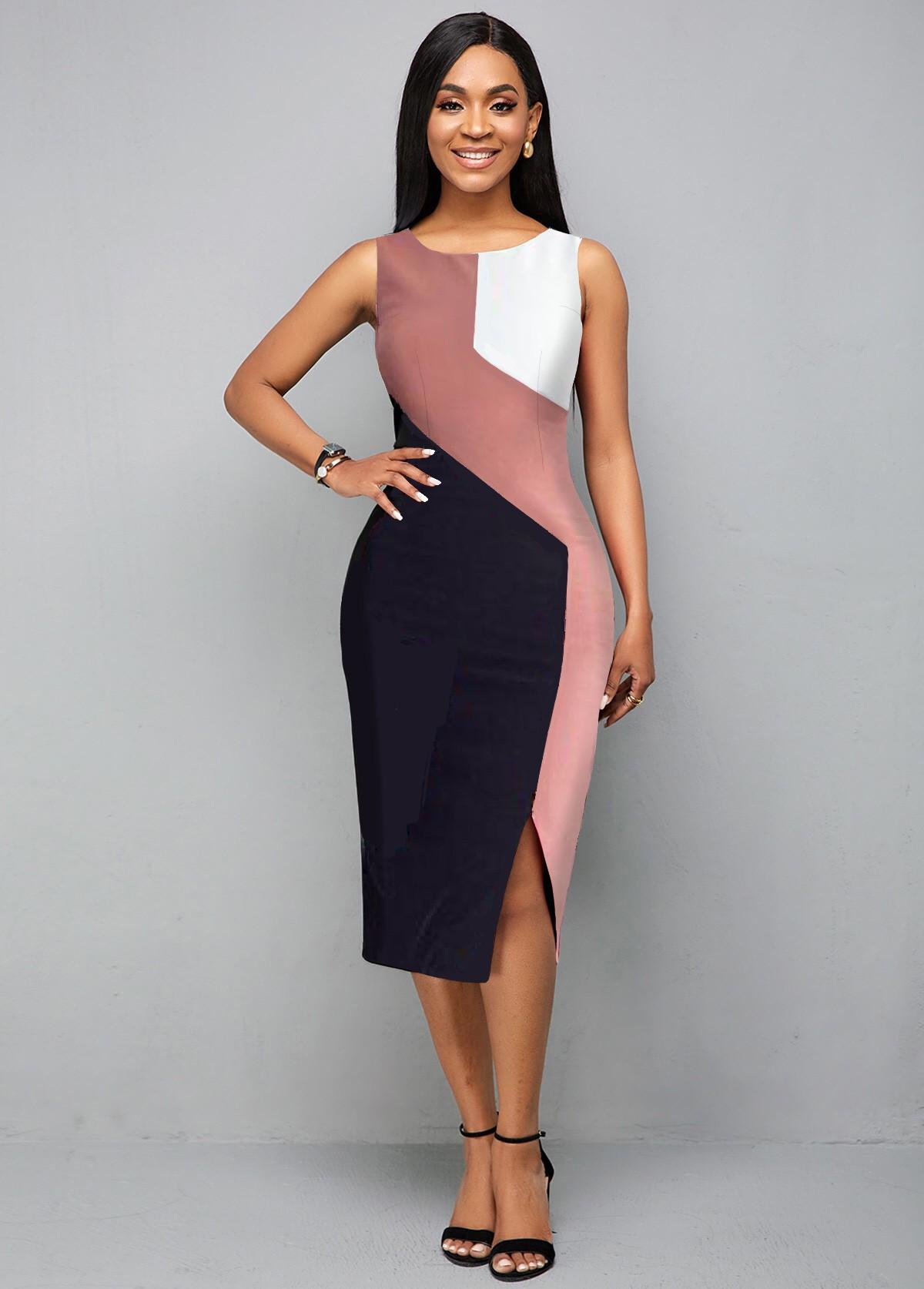 ROTITA Color Block Round Neck Sleeveless Dress