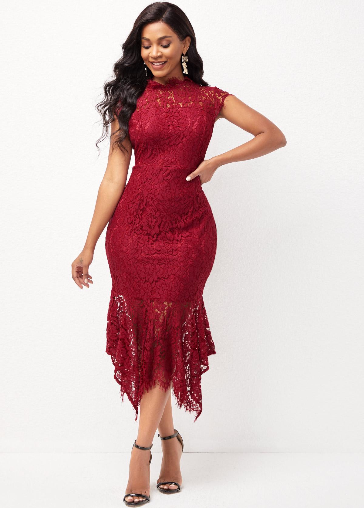 Short Sleeve Lace Asymmetric Hem Mock Neck Dress