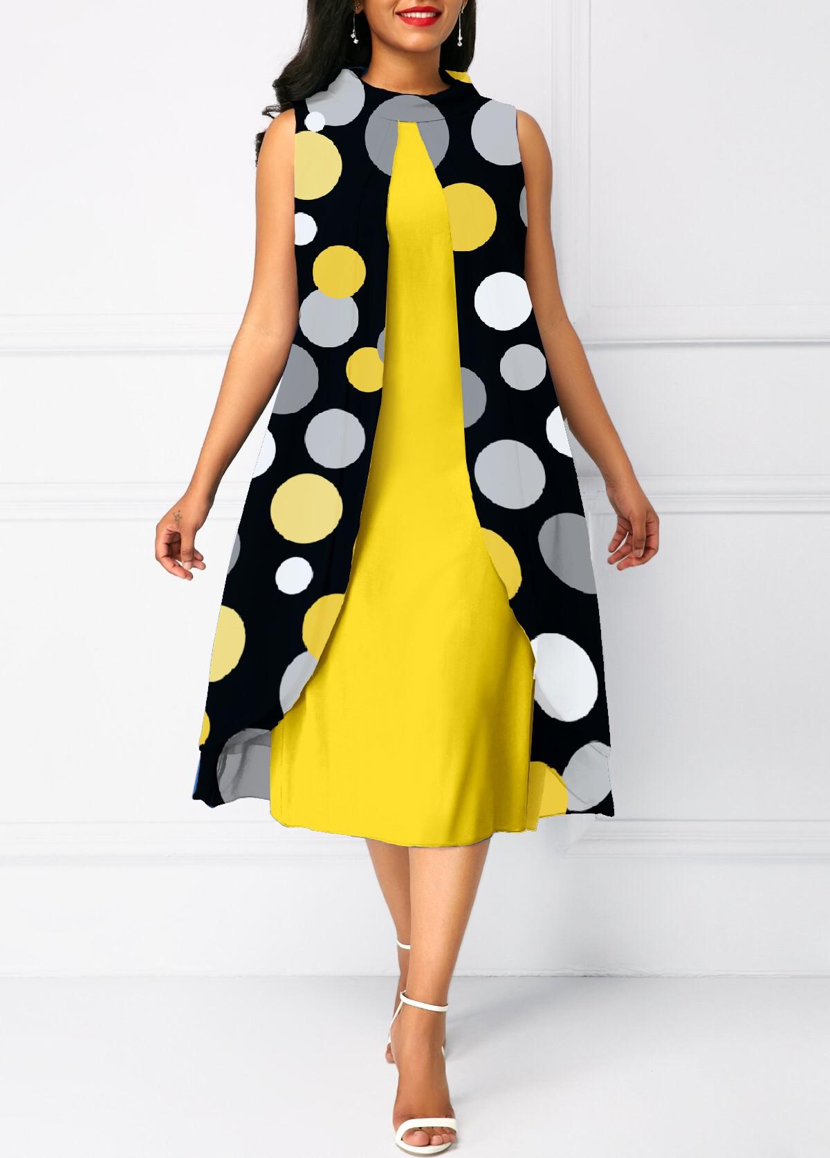 ROTITA Round Neck Polka Dot Faux Two Piece Dress