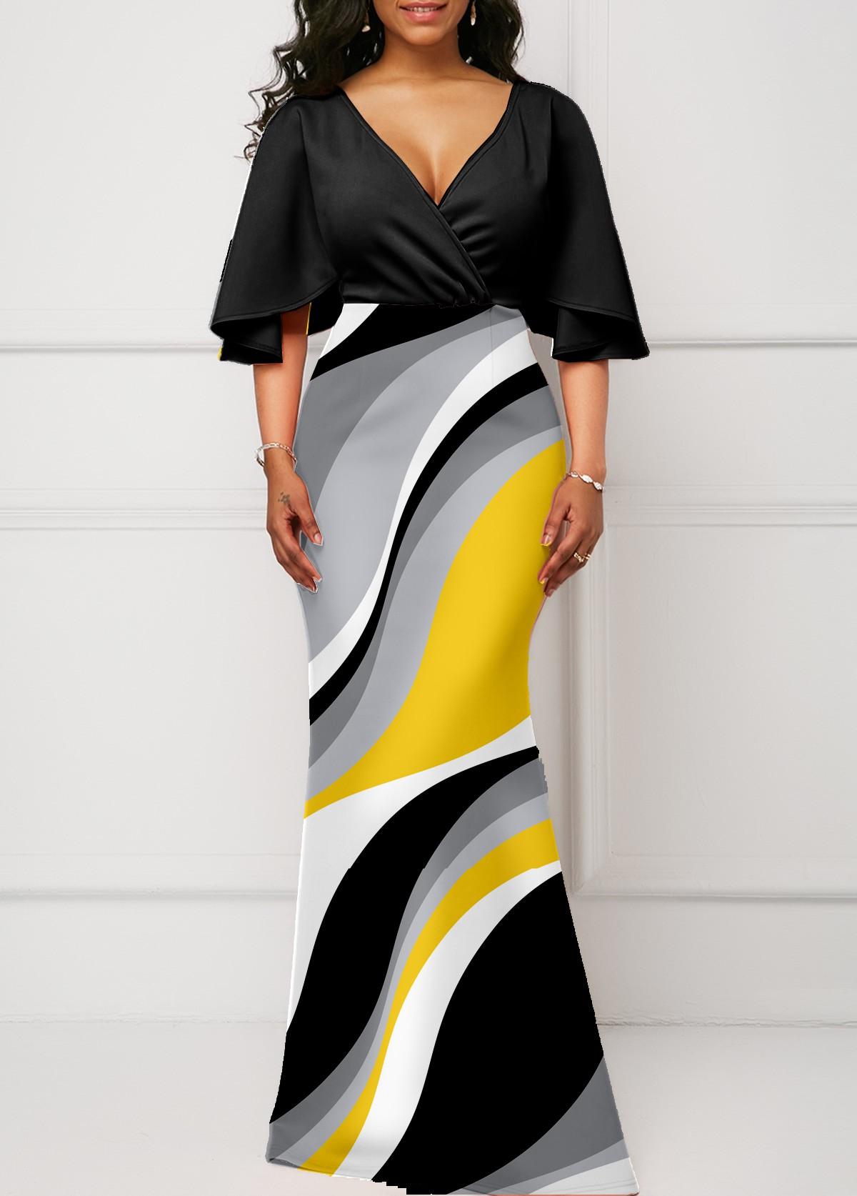 ROTITA V Neck Geometric Print Flare Sleeve Dress