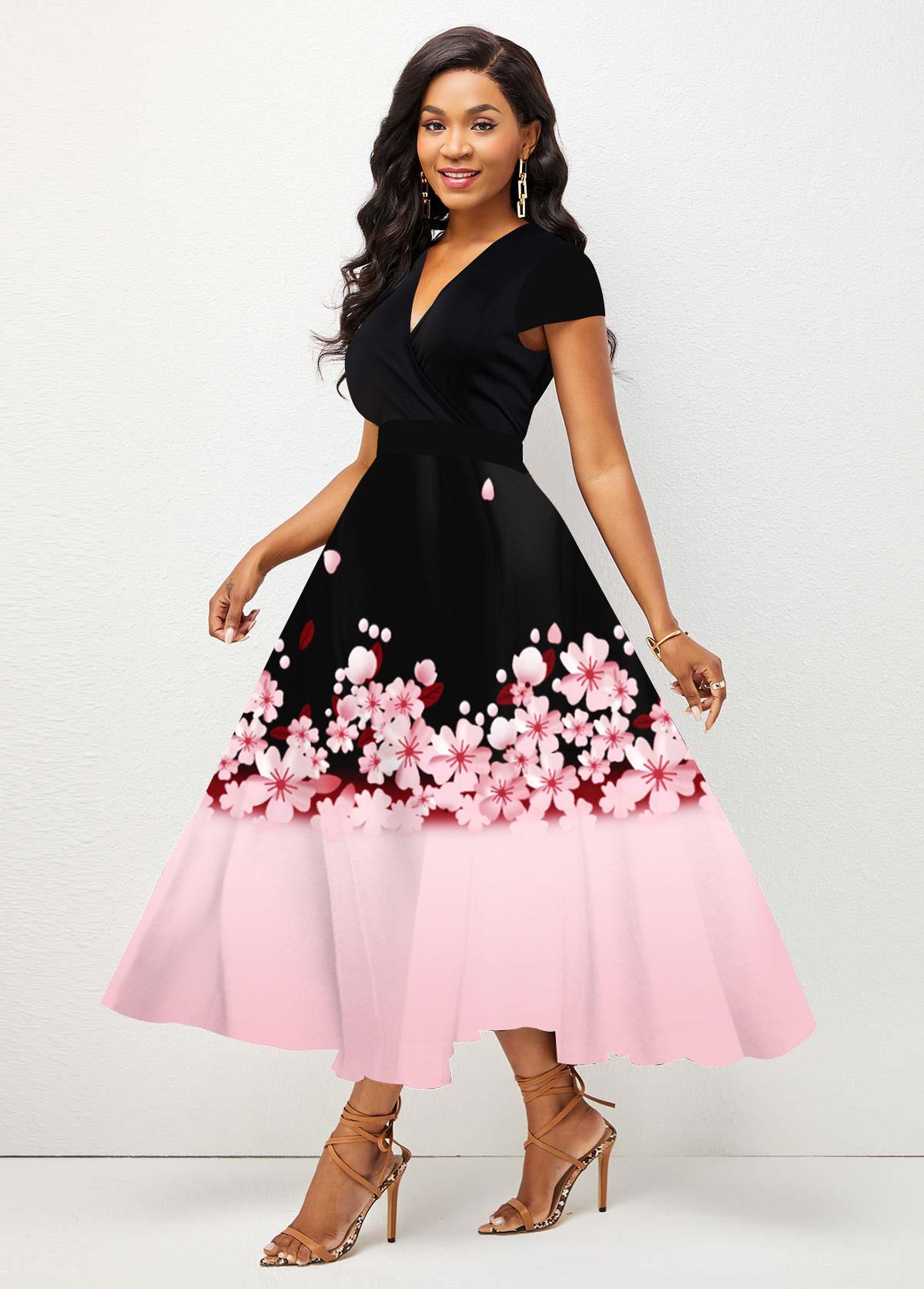 ROTITA Ombre V Neck Floral Print Dress