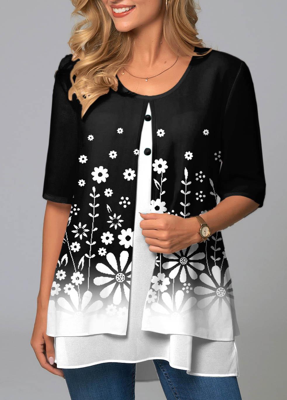 ROTITA Round Neck Floral Print Faux Two Piece T Shirt