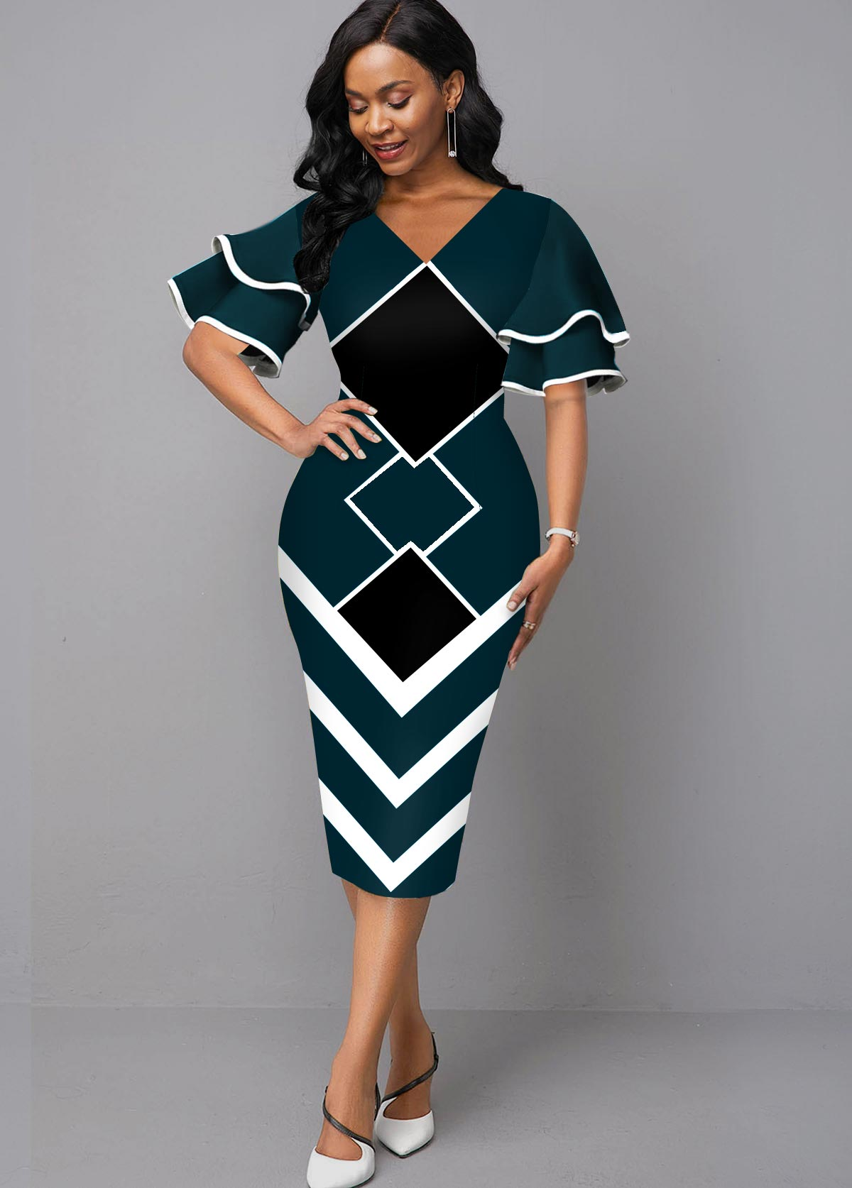 ROTITA Layered Bell Sleeve V Neck Geometric Print Dress