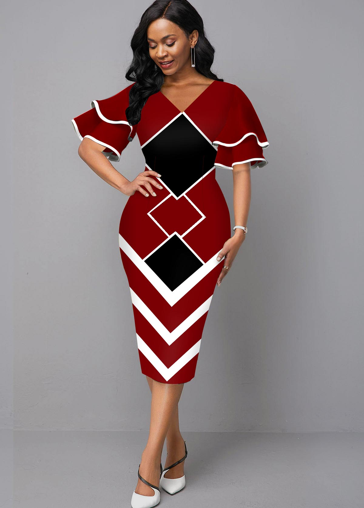 ROTITA Layered Bell Sleeve Geometric Print V Neck Dress