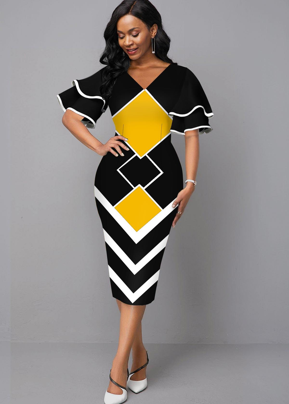 ROTITA Geometric Print Layered Bell Sleeve V Neck Dress
