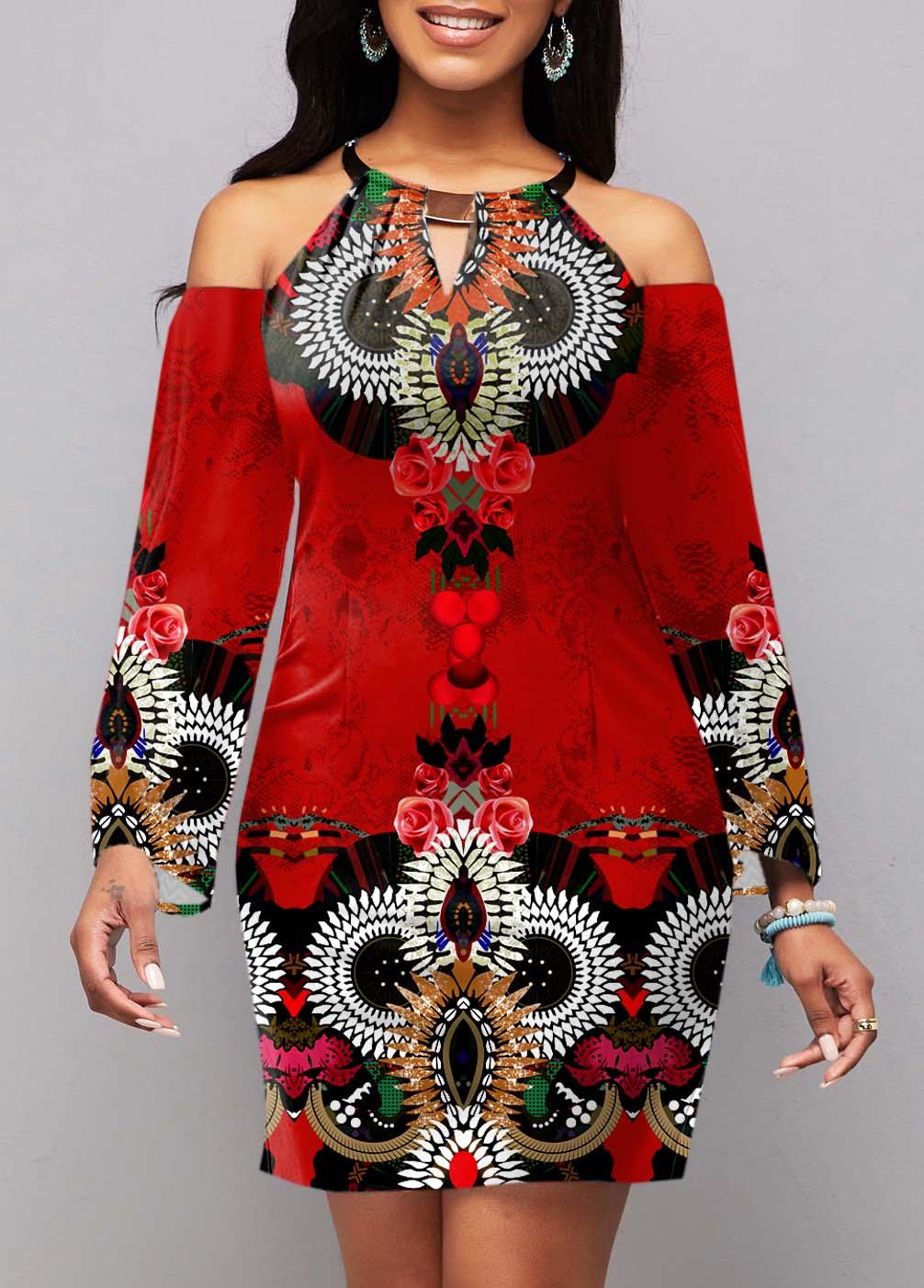 ROTITA Tribal Print Cold Shoulder Long Sleeve Dress